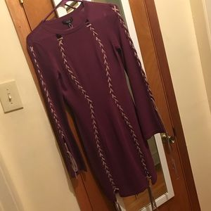 Purple Form Fitting Dress w/String Closures, Small
